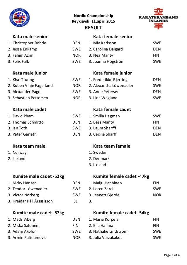 Nordic Championship Reykjavik, 11.april 2015 RESULT Kata male senior Kata female senior 1. Christopher Rohde DEN 1. Mia Ka...