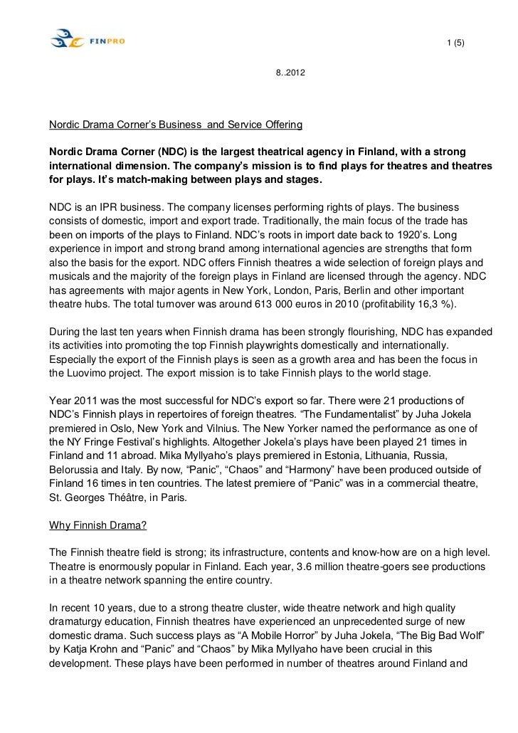"1 (5)                                                  8..2012Nordic Drama Corner""s Business and Service OfferingNordic Dr..."