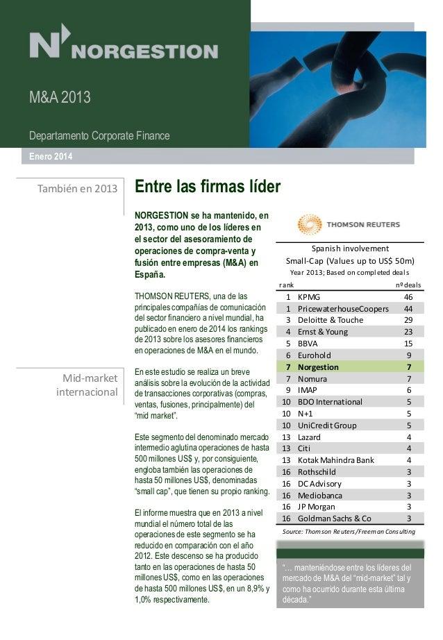 M&A 2013 especial expatriados Fiscalidad Departamento Corporate Finance Enero 2014  También en 2013  Entre las firmas líde...