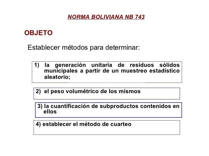 NORMA BOLIVIANA NB 743 Establecer métodos para determinar: OBJETO 1) la generación unitaria de residuos sólidos municipale...