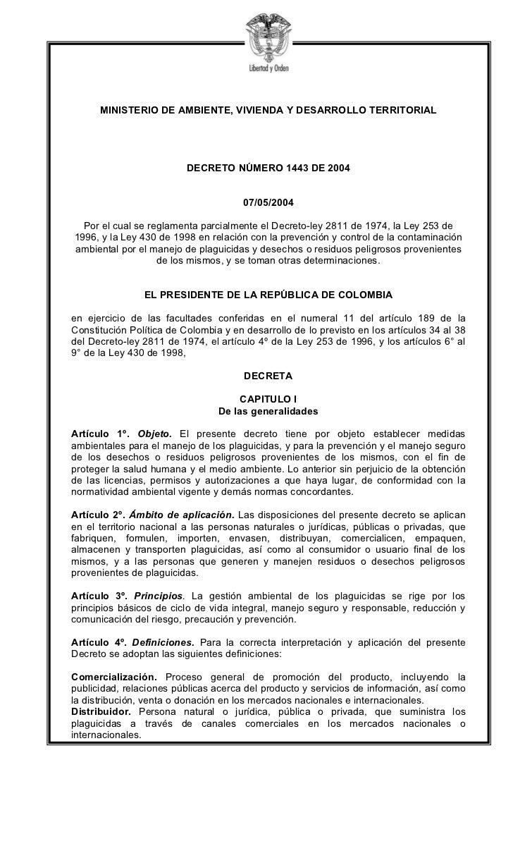 MINISTERIO DE AMBIENTE, VIVIENDA Y DESARROLLO TERRITORIAL                          DECRETO NÚMERO 1443 DE 2004            ...