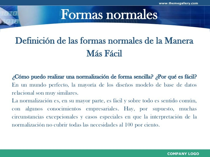 www.themegallery.com                    Formas normales Definición de las formas normales de la Manera                    ...