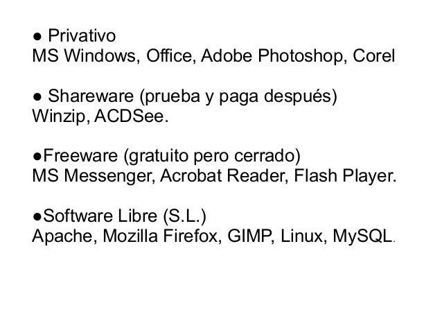 ● PrivativoMS Windows, Office, Adobe Photoshop, Corel● Shareware (prueba y paga después)Winzip, ACDSee.●Freeware (gratuito...