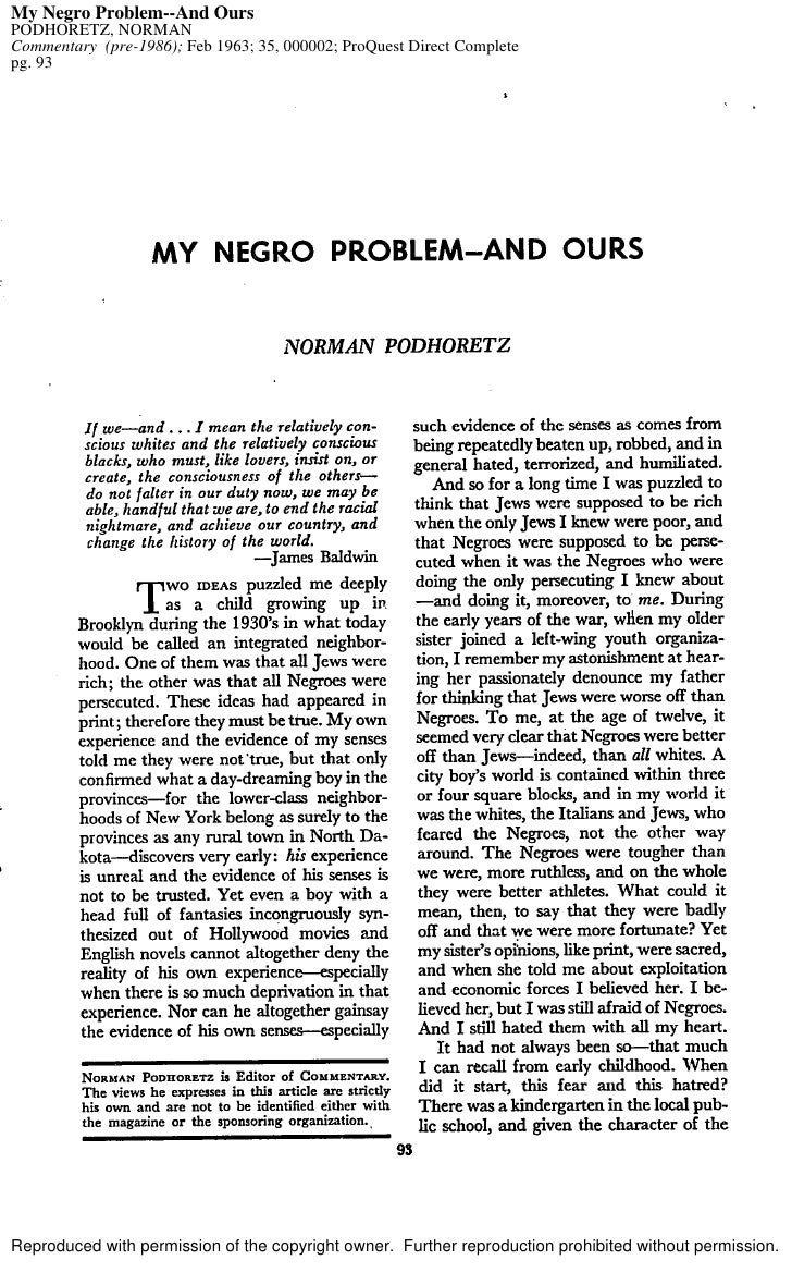 My Negro Problem--And Ours PODHORETZ, NORMAN Commentary (pre-1986); Feb 1963; 35, 000002; ProQuest Direct Complete pg. 93 ...