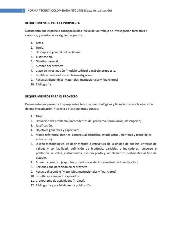 1    NORMA TÉCNICA COLOMBIANA NTC 1486 (Sexta Actualización)       REQUERIMIENTOS PARA LA PROPUESTA      Documento que exp...