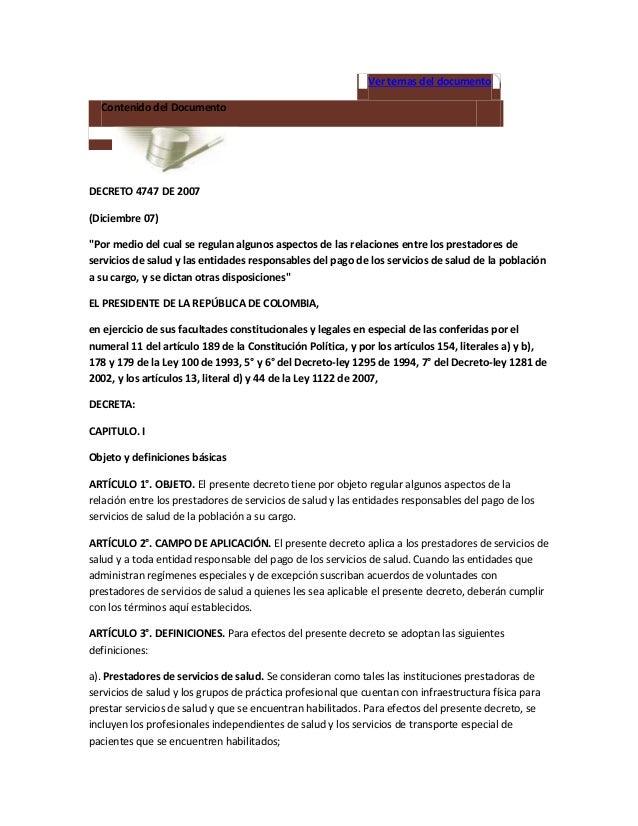 """Ver temas del documento  Contenido del DocumentoDECRETO 4747 DE 2007(Diciembre 07)""""Por medio del cual se regulan algunos a..."""