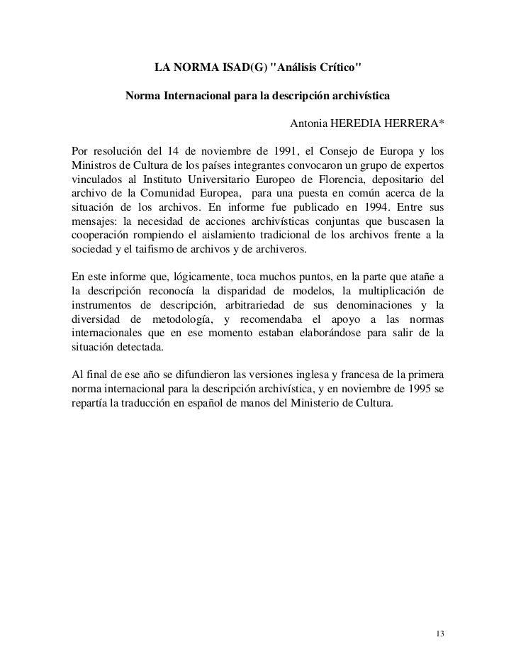 """LA NORMA ISAD(G) """"Análisis Crítico""""           Norma Internacional para la descripción archivística                        ..."""
