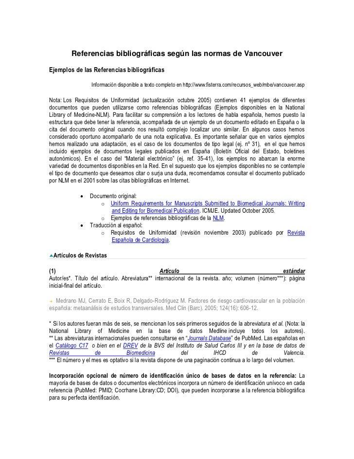 Referencias bibliográficas según las normas de VancouverEjemplos de las Referencias bibliográficas                  Inform...