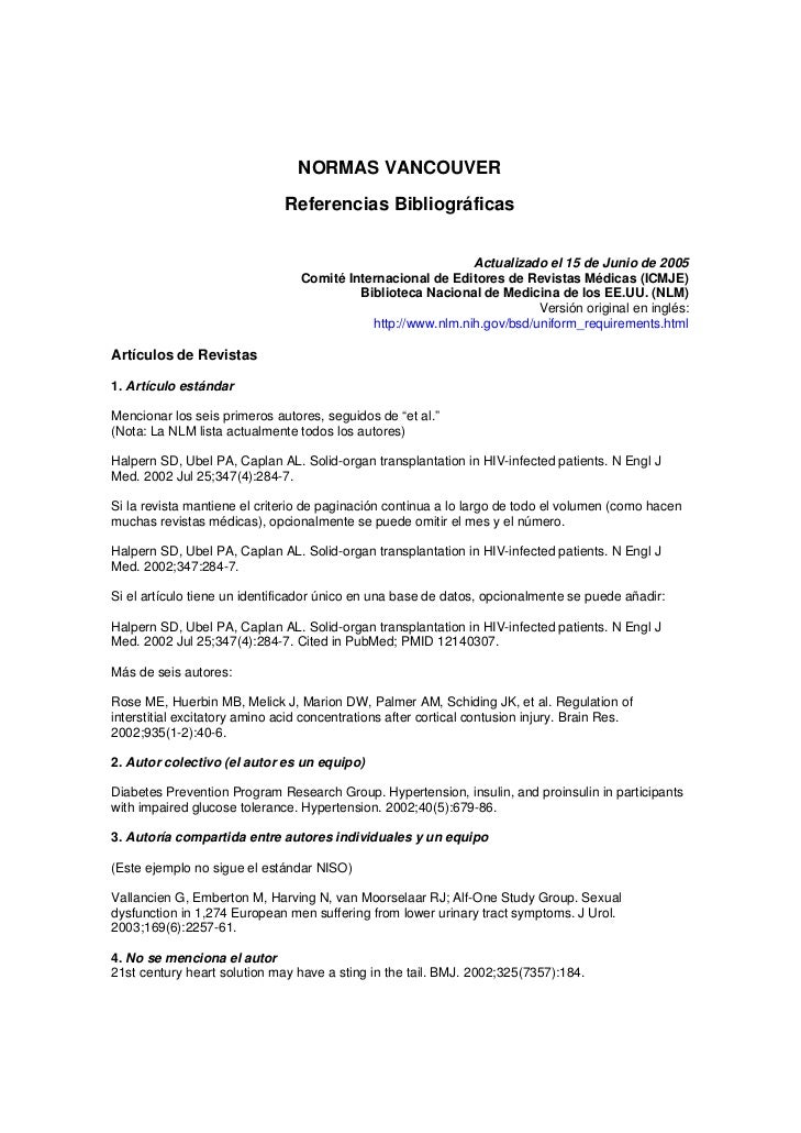 NORMAS VANCOUVER                              Referencias Bibliográficas                                                  ...