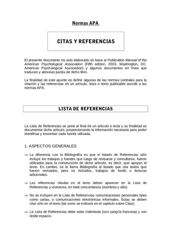 Normas APA                     CITAS Y REFERENCIASEl presente documento ha sido elaborado en base al Publication Manual of...