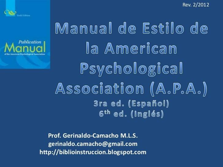 Rev. 2/2012   Prof. Gerinaldo-Camacho M.L.S.   gerinaldo.camacho@gmail.comhttp://biblioinstruccion.blogspot.com