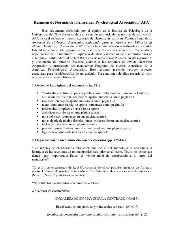 Resumen de Normas de laAmerican Psychological Association (APA) Este documento elaborado por el equipo de la Revista de Ps...