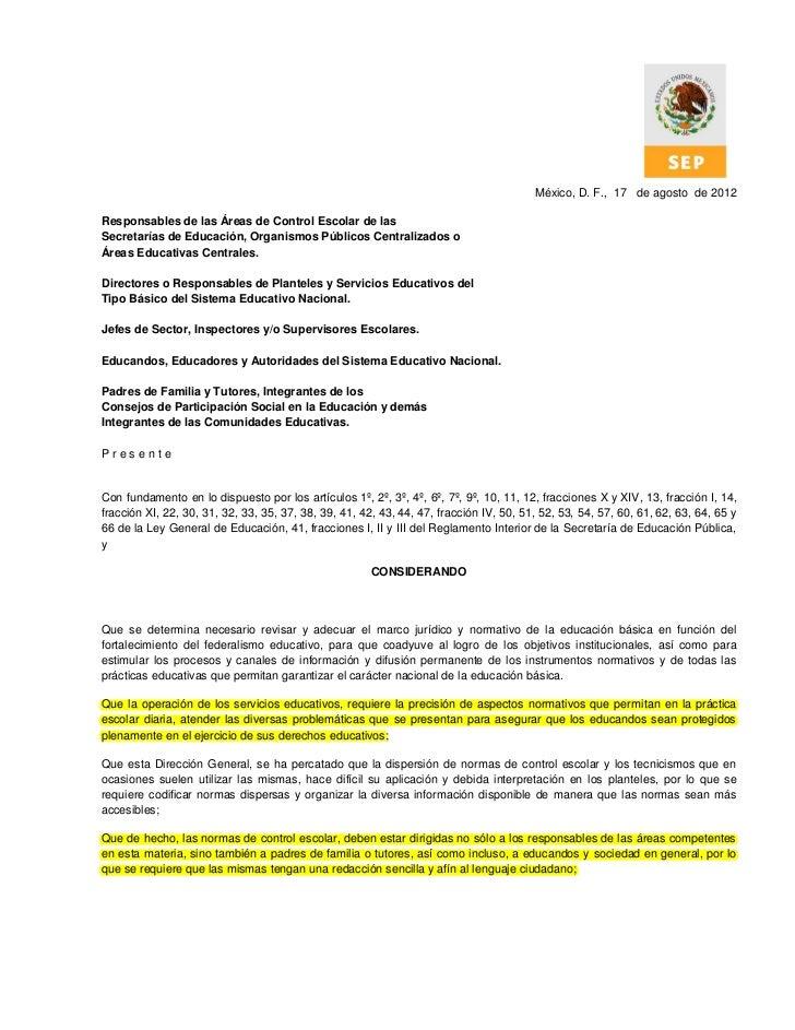 México, D. F., 17 de agosto de 2012Responsables de las Áreas de Control Escolar de lasSecretarías de Educación, Organismos...