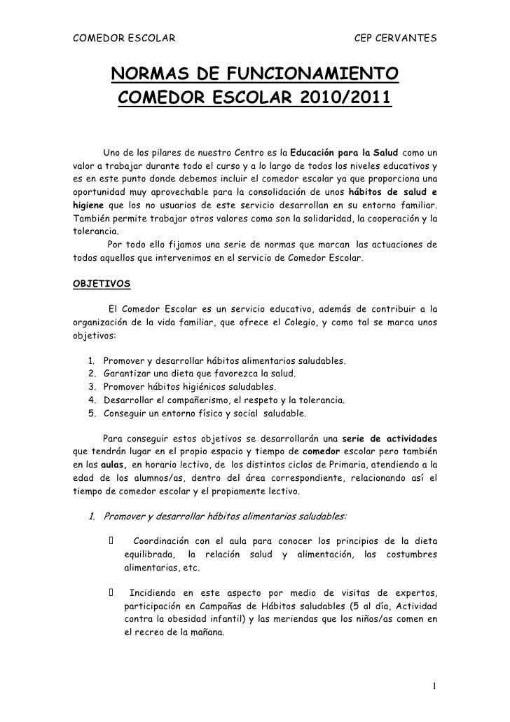 Normas comedor 10 11 for Proyecto educativo de comedor escolar