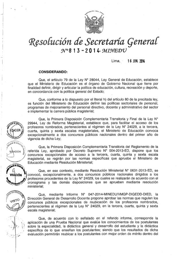 """""""Normas para los Concursos Excepcionales de Reubicación en la Tercera, Cuarta. Quinta y  Sexta Escala Magisterial""""_RSG. 81..."""