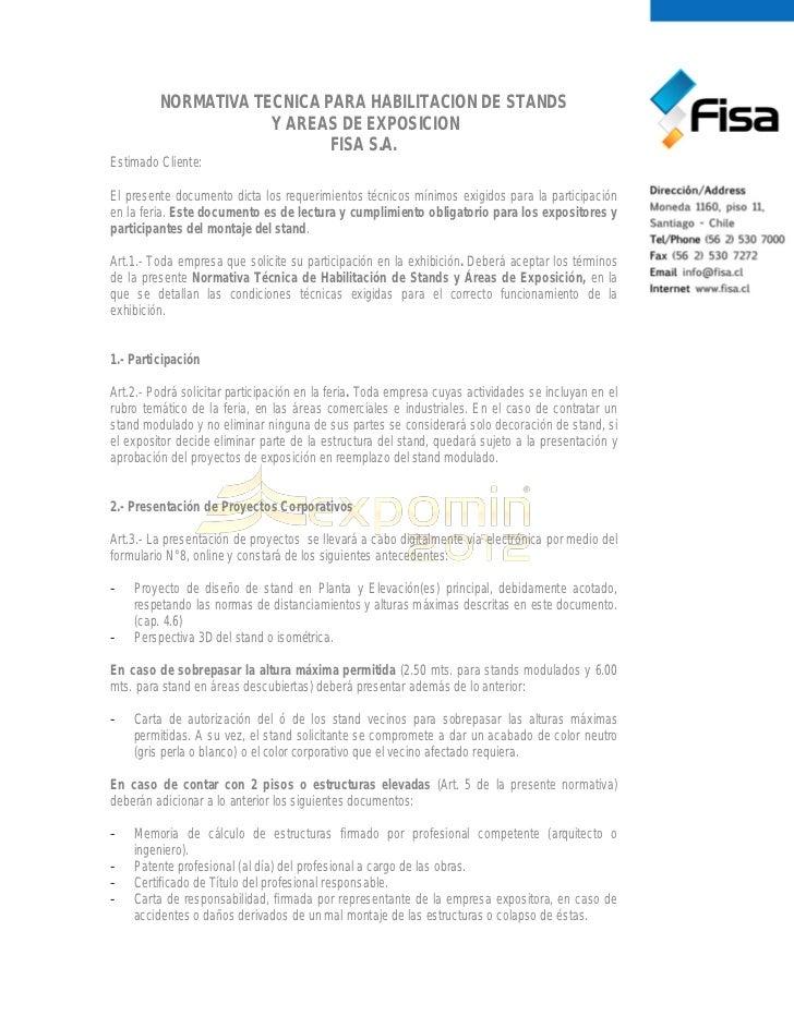 NORMATIVA TECNICA PARA HABILITACION DE STANDS                     Y AREAS DE EXPOSICION                            FISA S....