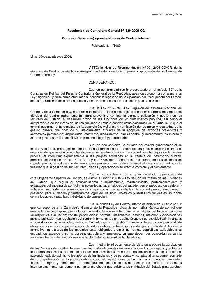 www.contraloria.gob.pe                          Resolución de Contraloría General Nº 320-2006-CG                      Cont...