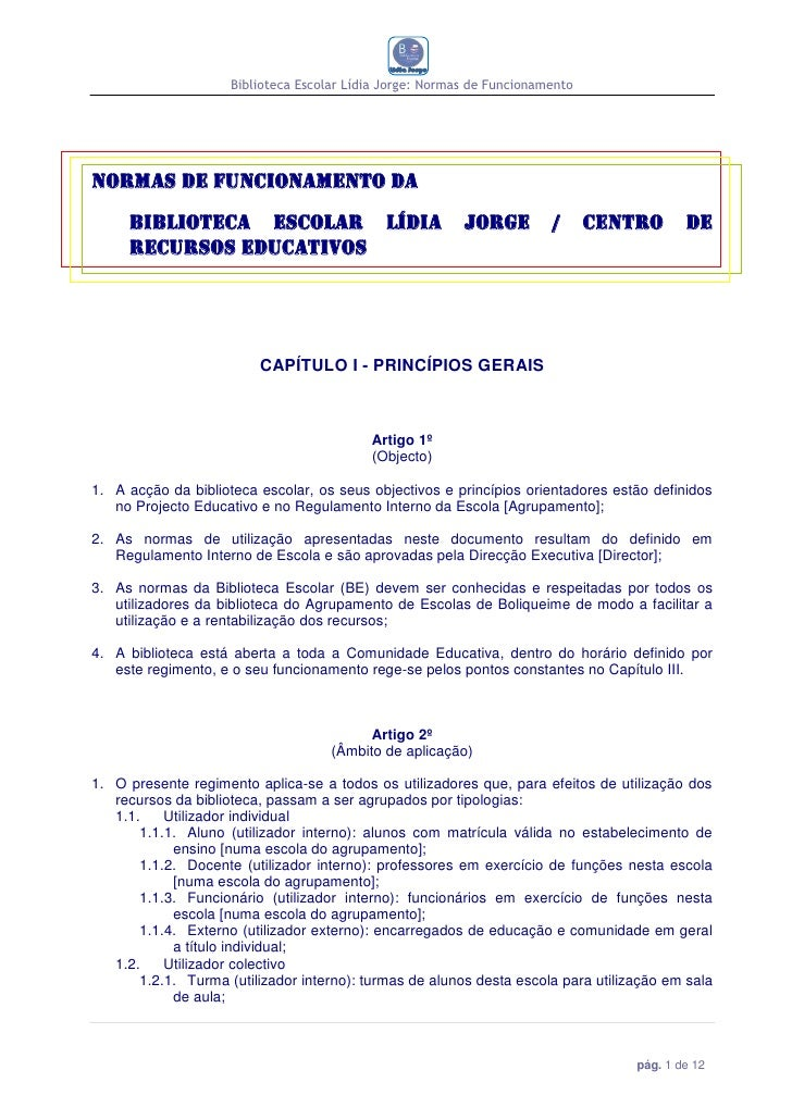 Biblioteca Escolar Lídia Jorge: Normas de FuncionamentoNormas de funcionamento da     Biblioteca Escolar Lídia            ...
