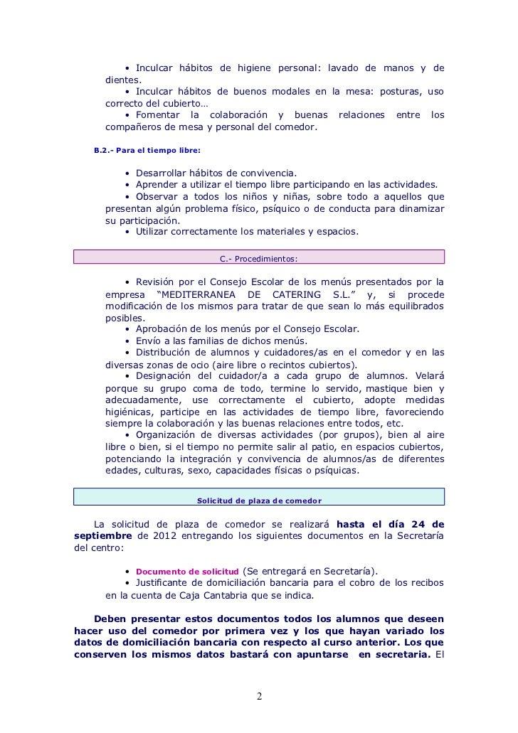 Normas de funcionamiento del comedor escolar 12 13 for Proyecto educativo de comedor escolar