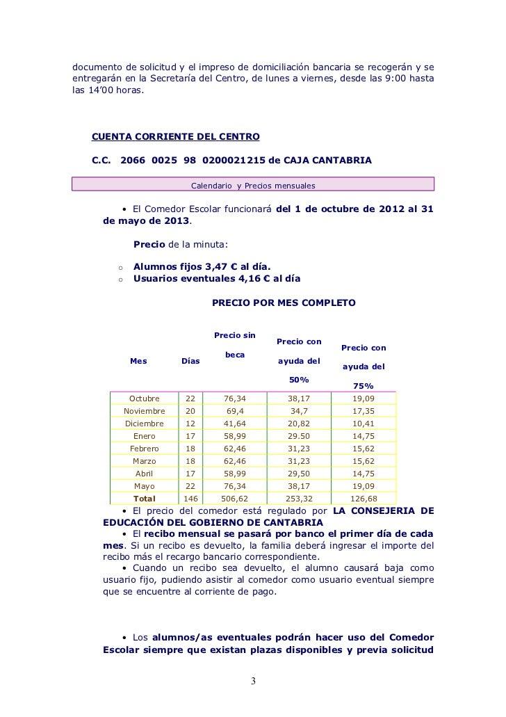 Normas de funcionamiento del comedor escolar 12 13 - Precio comedor escolar ...