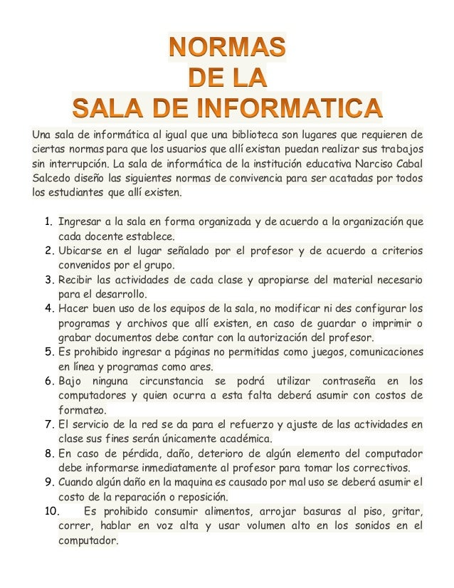 normas de la sala de informatica