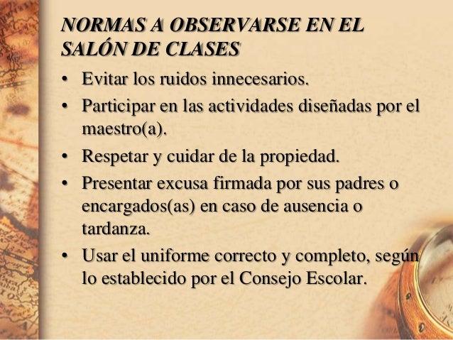 Normas del sal n de clases for 10 reglas para el salon de clases en ingles