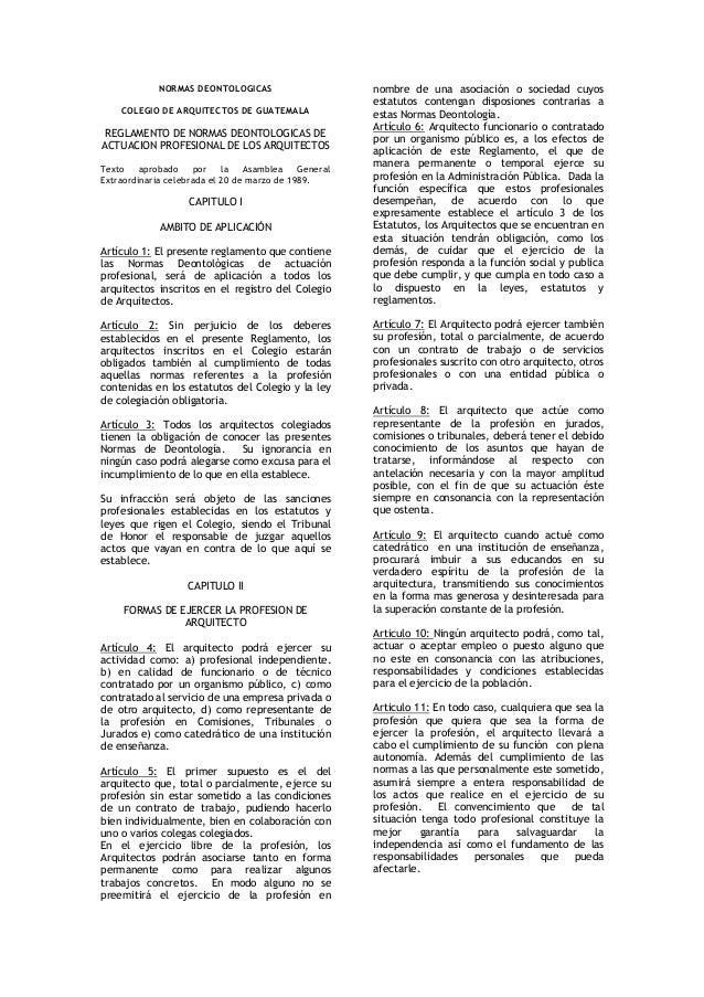 Normas deontologicas del Arquitecto Guatemala
