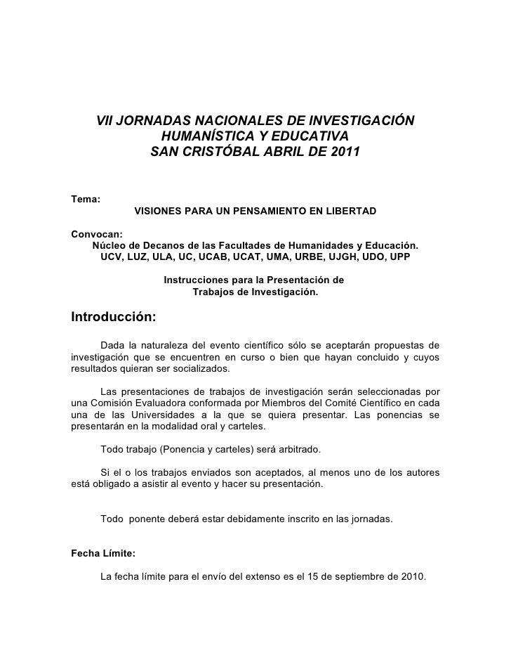 VII JORNADAS NACIONALES DE INVESTIGACIÓN               HUMANÍSTICA Y EDUCATIVA              SAN CRISTÓBAL ABRIL DE 2011   ...