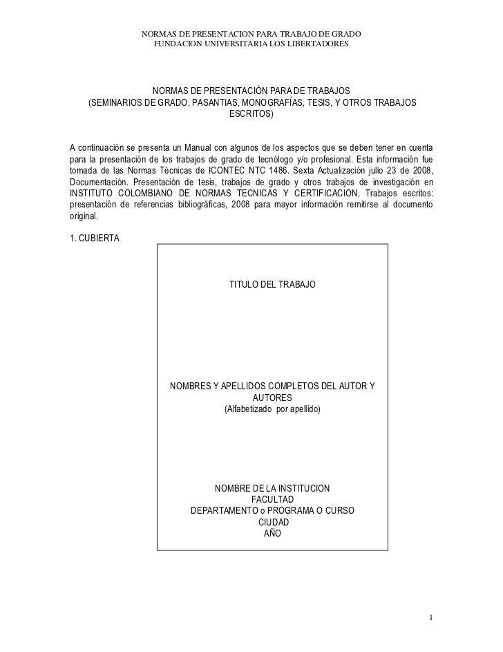NORMAS DE PRESENTACION PARA TRABAJO DE GRADO                     FUNDACION UNIVERSITARIA LOS LIBERTADORES                 ...