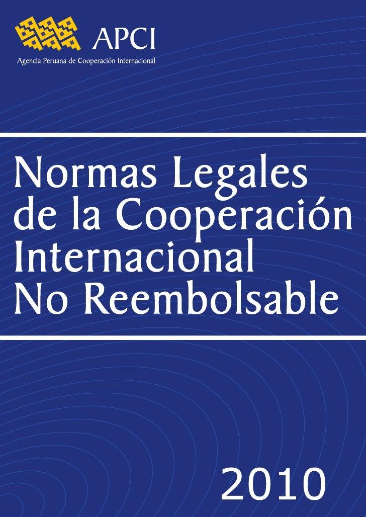 Normas Legales de la Cooperación Internacional No Reembolsable - Parte 1