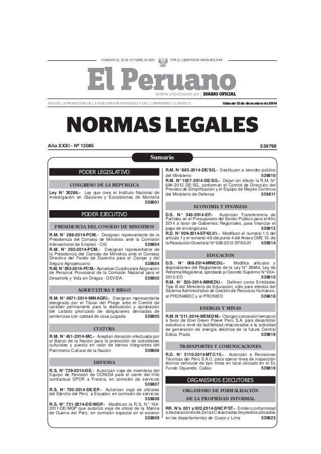 ... , diario el peruano contrato docente 2015 - 13 de diciembre del 2014