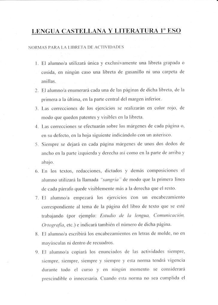 LE]GUA CASTELLAIA Y LITERATURA 1ESONORMAS PARA LA I-1BRI]TA ACT]VIDADF-S                        DE  1  I.   El alumnola ut...