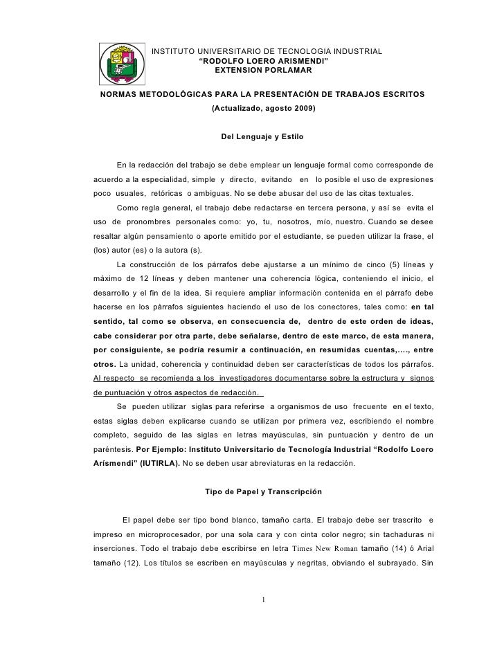 "INSTITUTO UNIVERSITARIO DE TECNOLOGIA INDUSTRIAL                            ""RODOLFO LOERO ARISMENDI""                     ..."