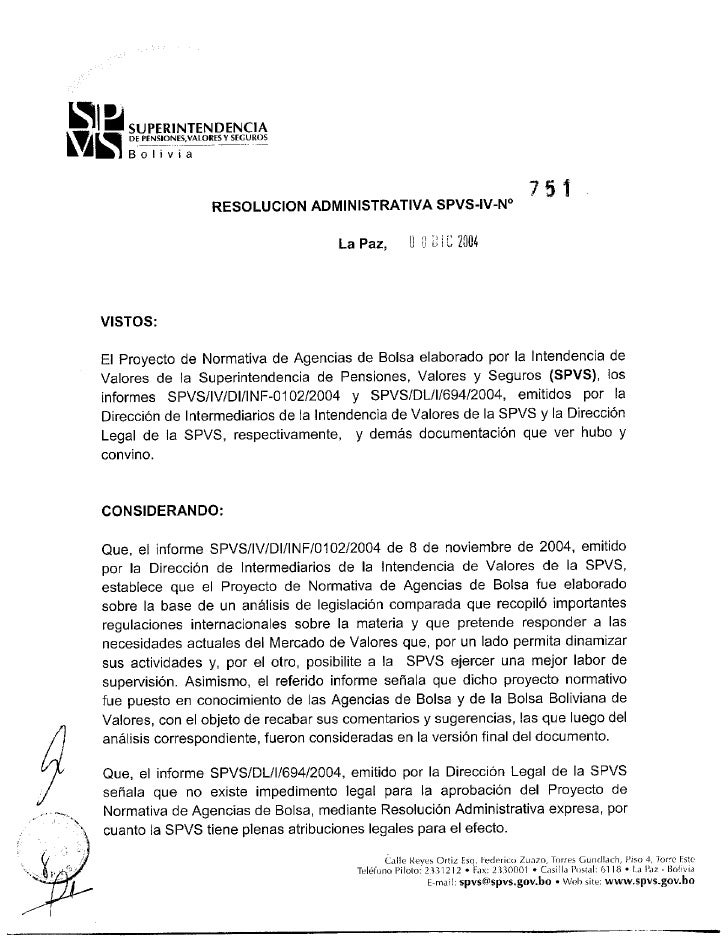 TEXTO ORDENADO                         NORMATIVA PARA AGENCIAS DE BOLSA         ANEXO RESOLUCIÓN ADMINISTRATIVA SPVS-IV-Nº...