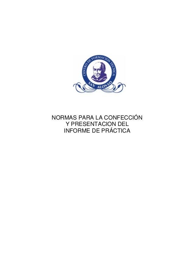 Normas para la confeccion del informede practica