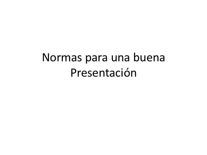 Normas presentacion
