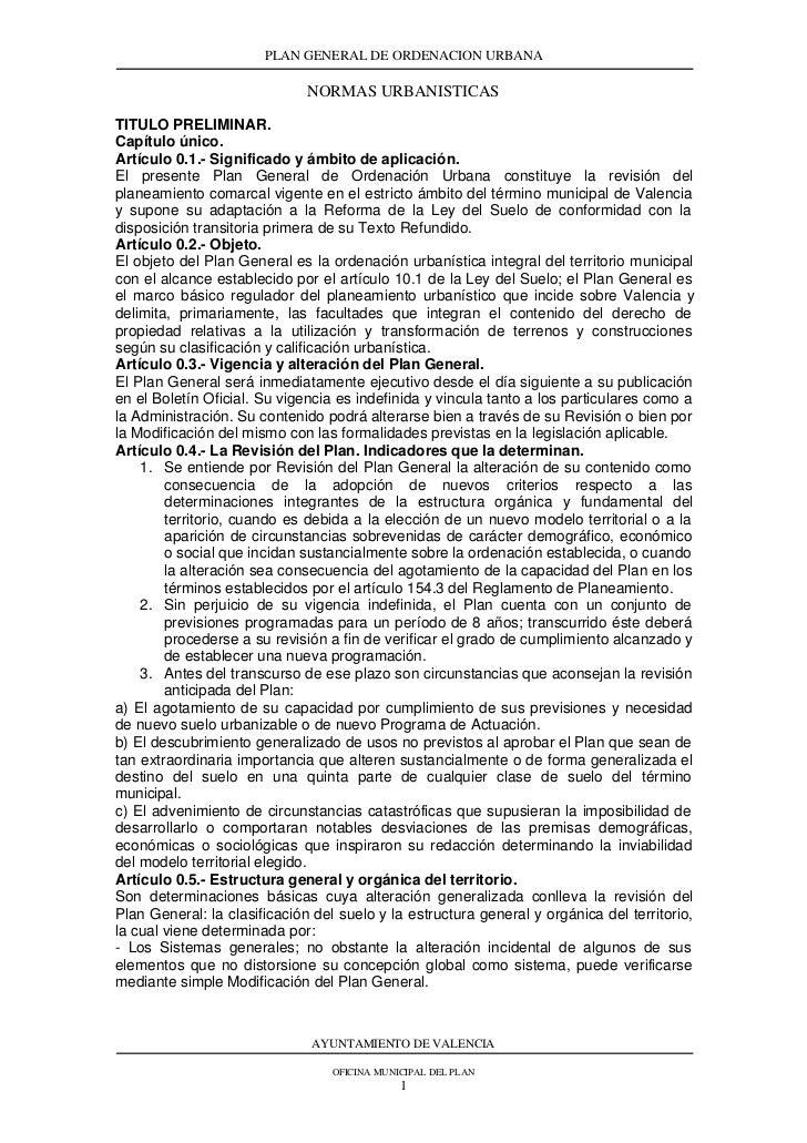 PLAN GENERAL DE ORDENACION URBANA                              NORMAS URBANISTICASTITULO PRELIMINAR.Capítulo único.Artícul...