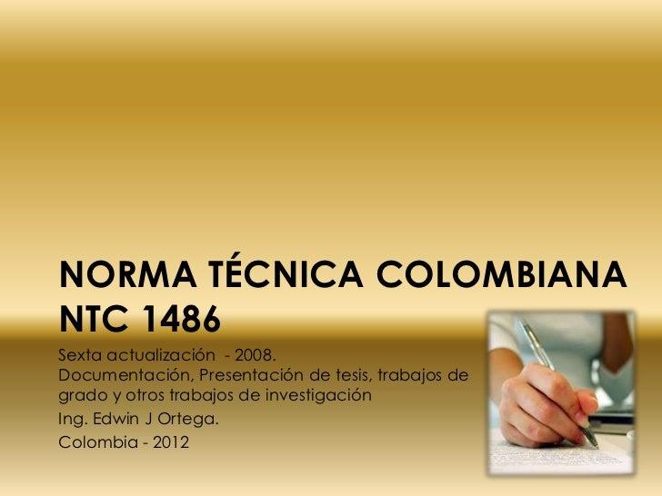 Norma técnica colombiana  ntc 1486