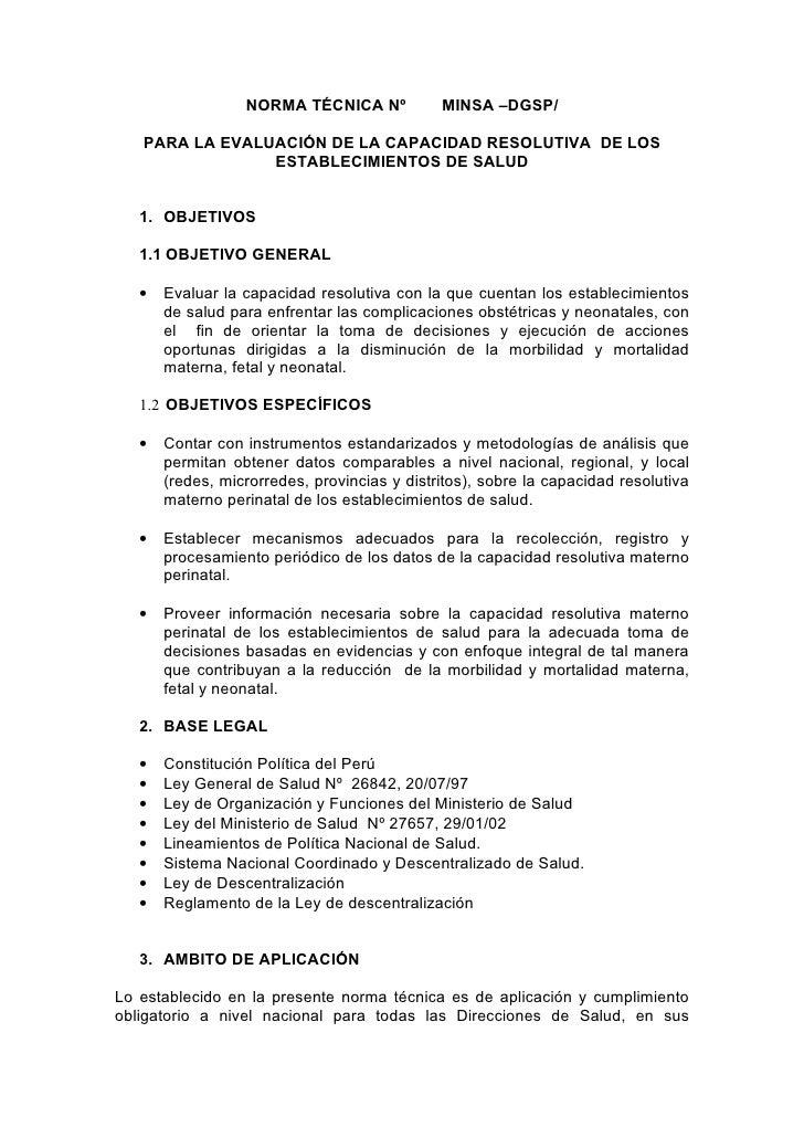 NORMA TÉCNICA Nº            MINSA –DGSP/     PARA LA EVALUACIÓN DE LA CAPACIDAD RESOLUTIVA DE LOS                 ESTABLEC...