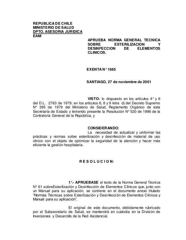 Norma T 233 Cnica Esterilizacion Y Desinfeccion De Elementos