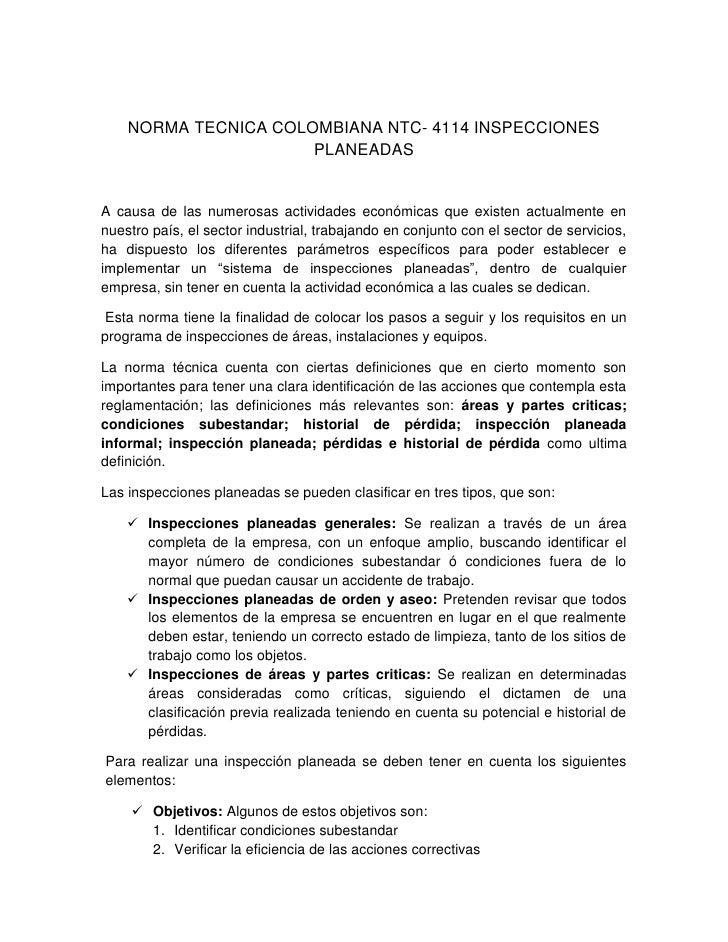 NORMA TECNICA COLOMBIANA NTC- 4114 INSPECCIONES PLANEADAS<br />A causa de las numerosas actividades económicas que existen...