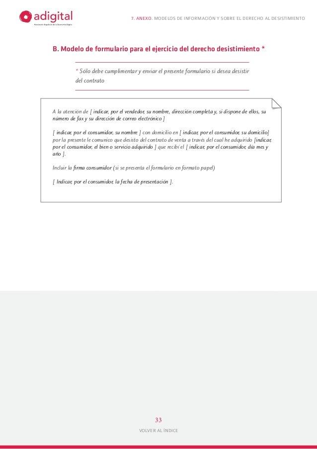 Normativa ecommerce y venta a distancia for Formulario desistimiento