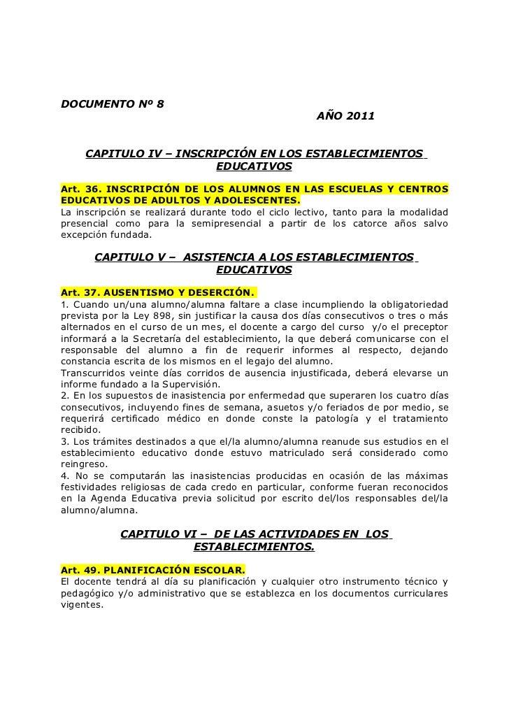 DOCUMENTO Nº 8                                                      AÑO 2011     CAPITULO IV – INSCRIPCIÓN EN LOS ESTABLEC...