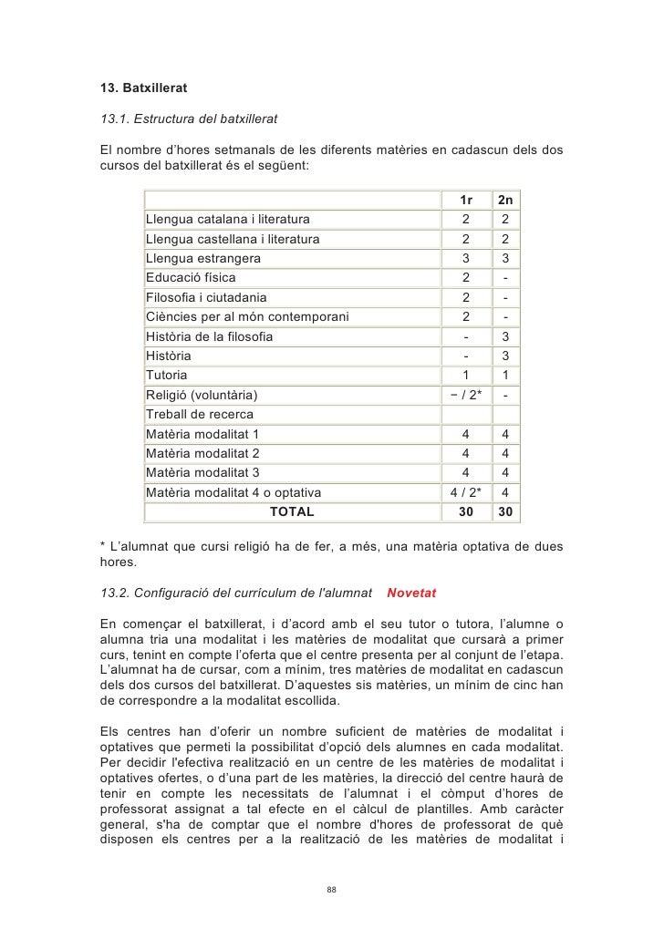 13. Batxillerat  13.1. Estructura del batxillerat  El nombre d'hores setmanals de les diferents matèries en cadascun dels ...
