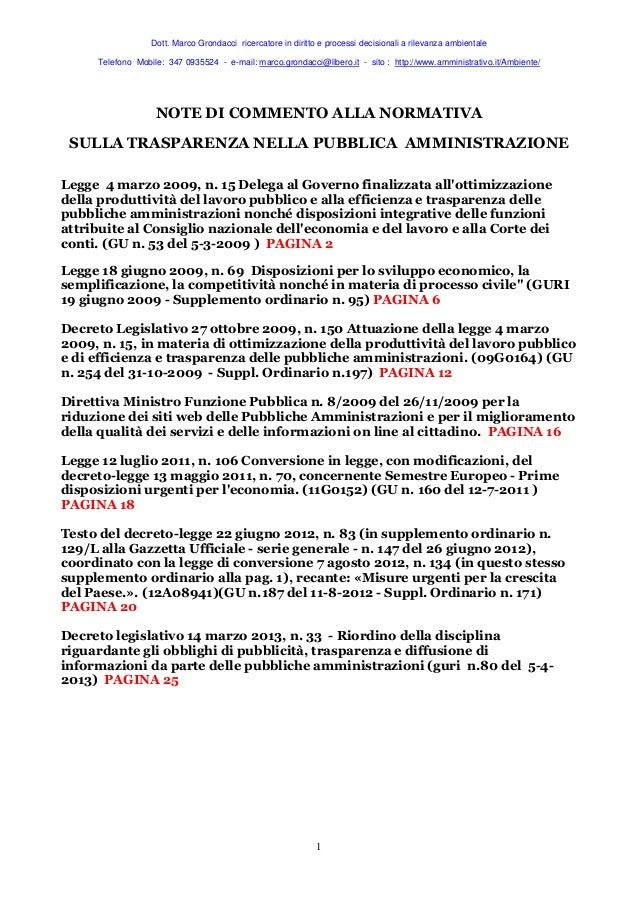 Normativa nazionale sulla trasparenza nella pa