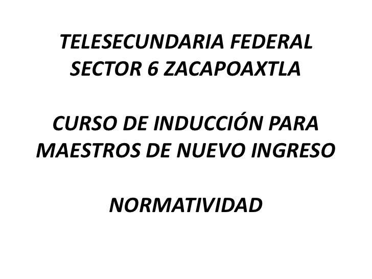 TELESECUNDARIA FEDERALSECTOR 6 ZACAPOAXTLACURSO DE INDUCCIÓN PARA MAESTROS DE NUEVO INGRESONORMATIVIDAD<br />