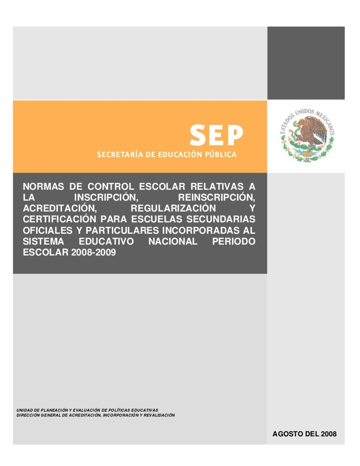 SECRETARÍA DE EDUCACIÓN PÚBLICA                                                                      SEP  NORMAS DE CONTRO...