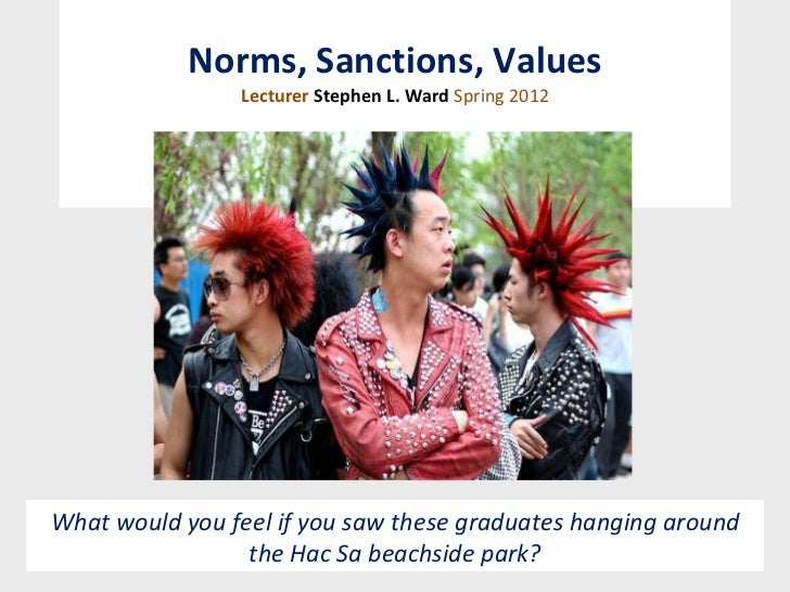 Norms, Sanctions, Values Lecturer  Stephen L. Ward  Spring 2012 What would you feel if you saw these graduates hanging aro...