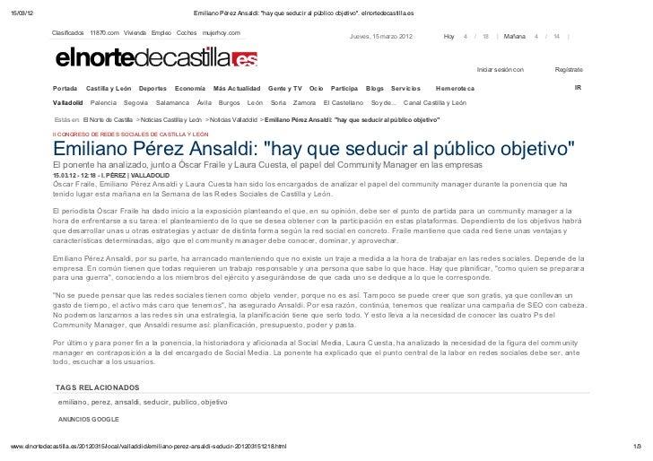 """15/03/12                                                          Emiliano Pérez Ansaldi: """"hay que seducir al público obje..."""