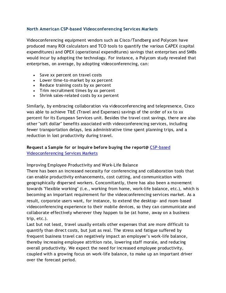 North american csp based videoconferencing services markets